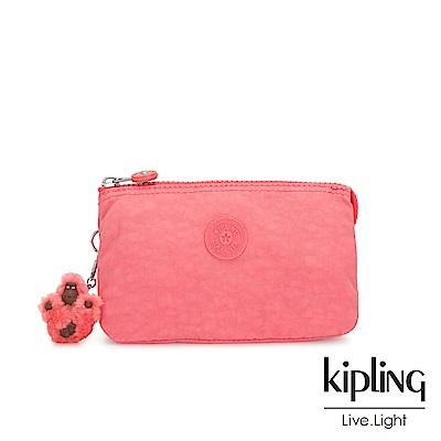 Kipling 甜美蜜桃橘素面三夾層配件包-CREATIVITY L
