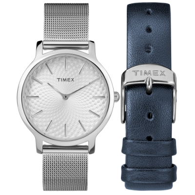 TIMEX 天美時 風格系列 經典米蘭帶禮盒組- 銀/34mm