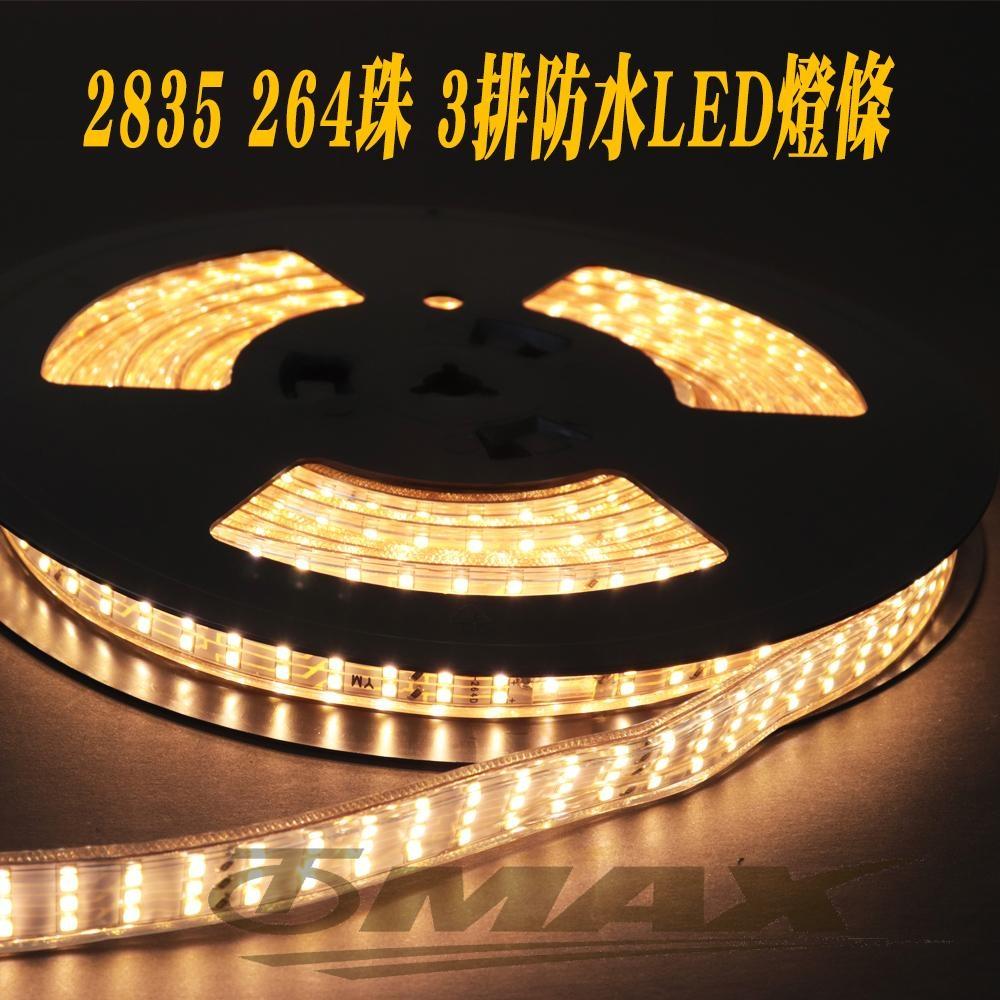 OMAX 2835 264珠3排防水戶外裝飾LED燈條-暖白光