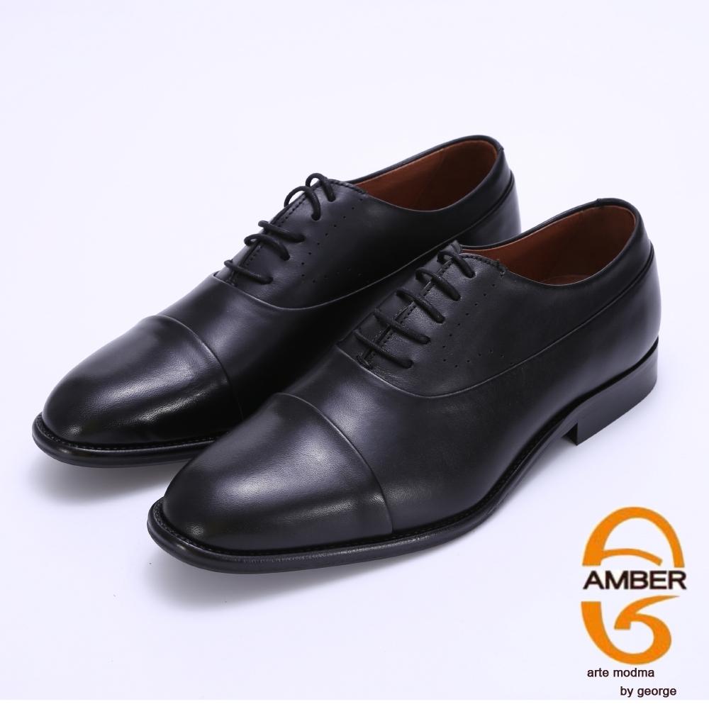 Amber 經典素面手工擦色紳士皮鞋-黑色