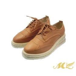 MK-中性復古紳士風真皮厚底德比鞋-棕色  (兩色)
