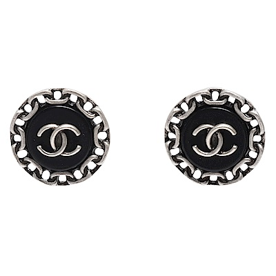 CHANEL 經典CC LOGO鍊帶環圈造型穿式耳環(黑X銀)
