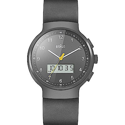 BRAUN德國百靈 計時碼表設計款 質感真皮錶帶  –黑色/44mm