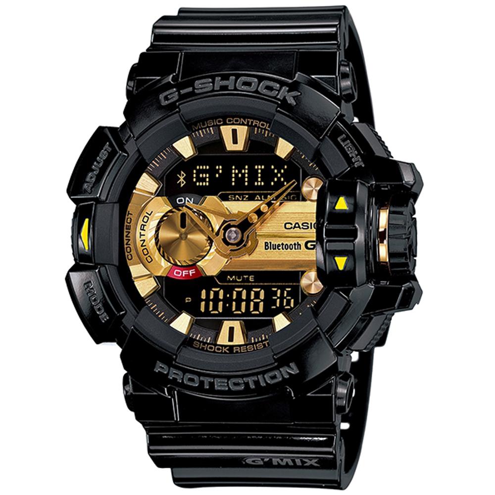 G-SHOCK MIX玩酷生活音樂控制藍芽錶(GBA-400-1A9)-黑x黃時刻/51.9mm