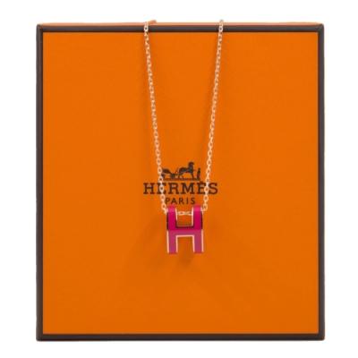 HERMES POP H 項鍊 (桃粉色 x 玫瑰金鍊) Rose Extreme