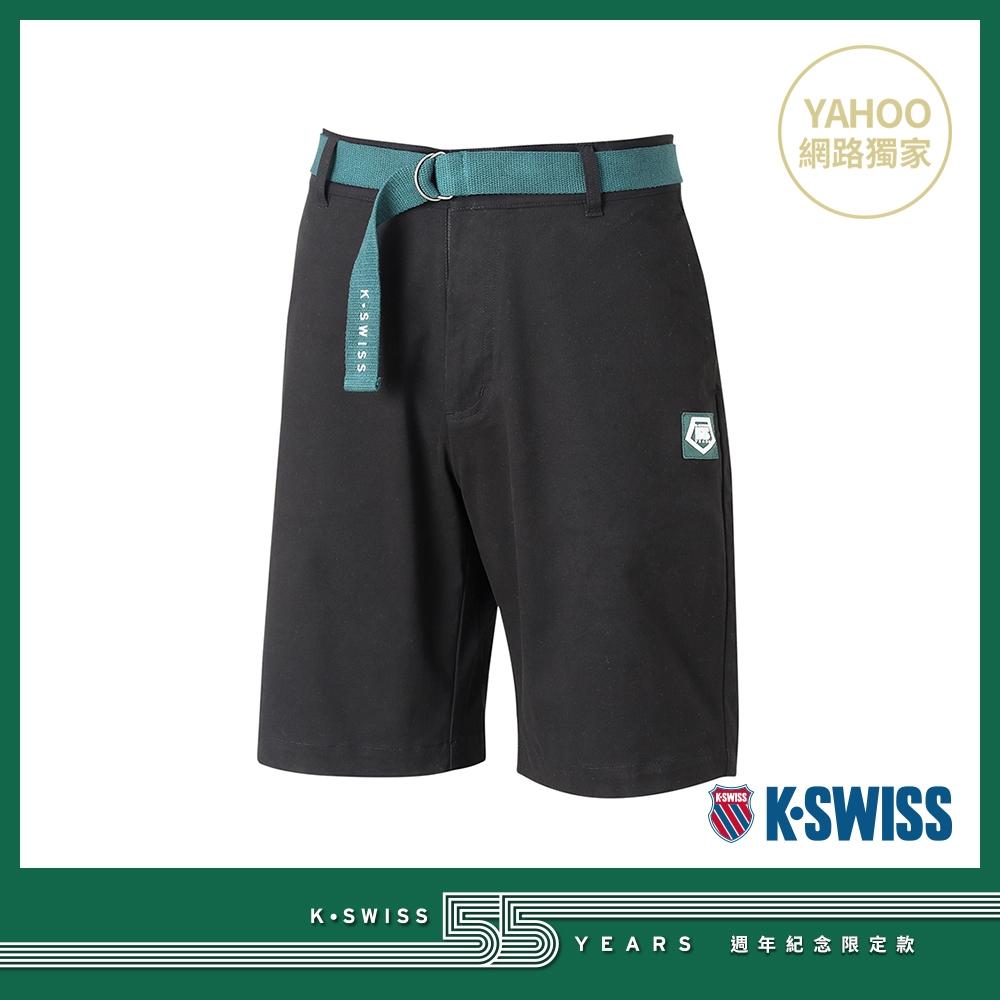 K-SWISS 55TH WOVEN SHORTS W/BELT棉質休閒短褲-男-黑