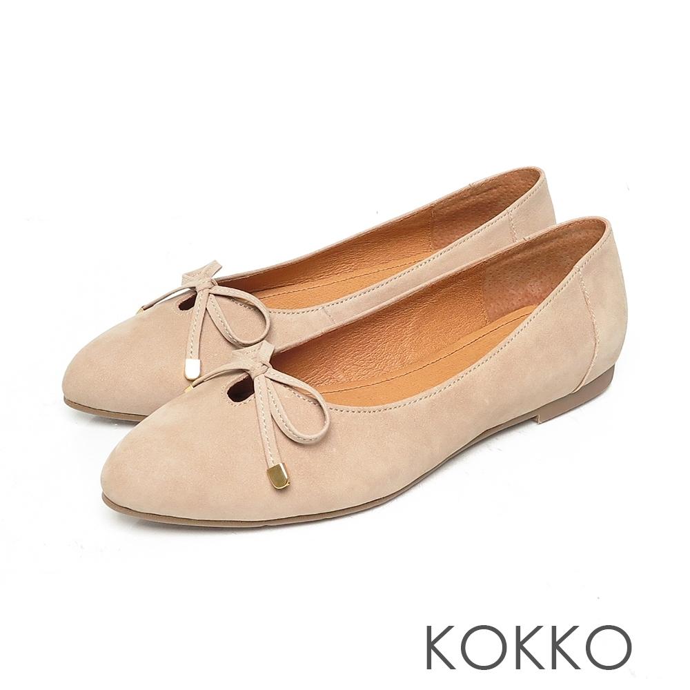 KOKKO尖頭蝴蝶結牛麂皮芭蕾舞平底娃娃鞋中性灰色