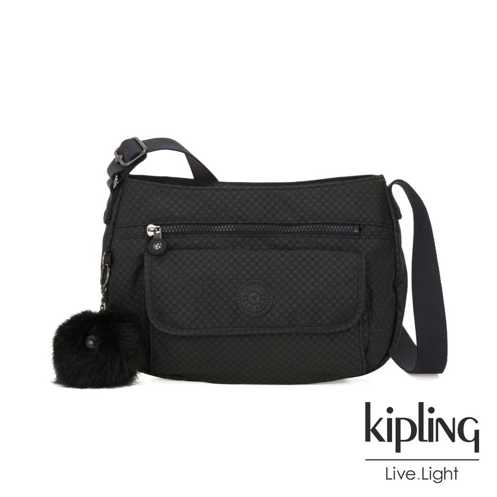 Kipling 低調黑格紋掀蓋側背包-SYRO