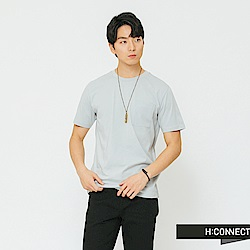 H:CONNECT 韓國品牌 男裝-素面口袋圓領T-shirt-藍