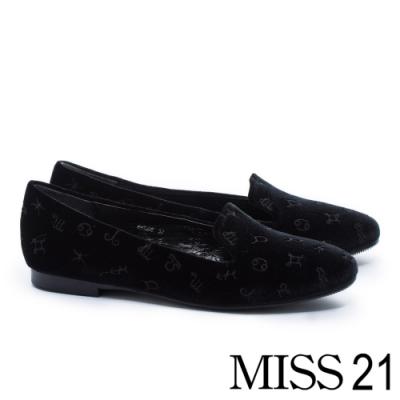 平底鞋 MISS 21 復古星座電繡設計樂福平底鞋-黑