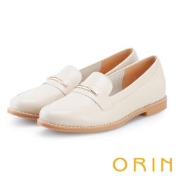 ORIN 金屬飾條牛皮樂福鞋 米色
