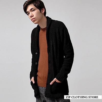 刷毛圍巾領開襟外套(5色) ZIP日本男裝