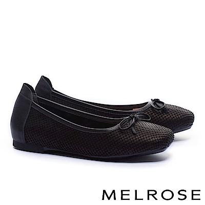 娃娃鞋 MELROSE 經典百搭素雅接蝴蝶結全真皮平底娃娃鞋-黑