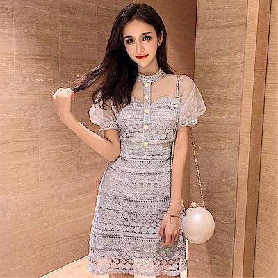 DABI 韓系網紗泡泡袖拼接蕾絲鏤空短袖洋裝