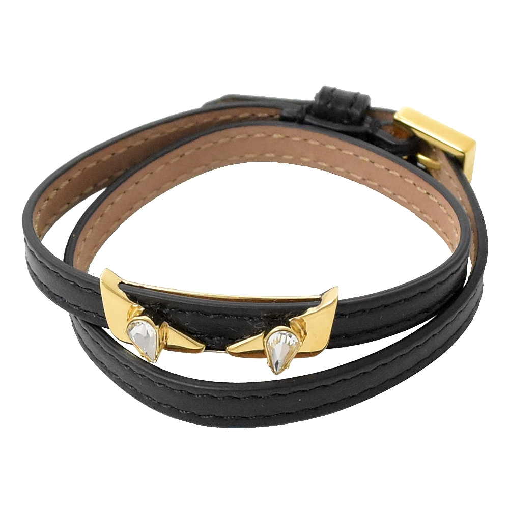 FENDI 小怪獸造型兩圈皮繩手環(黑色)