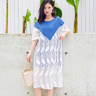 圓領拼接透膚蕾絲五分袖洋裝 (藍色)-Kugi Girl