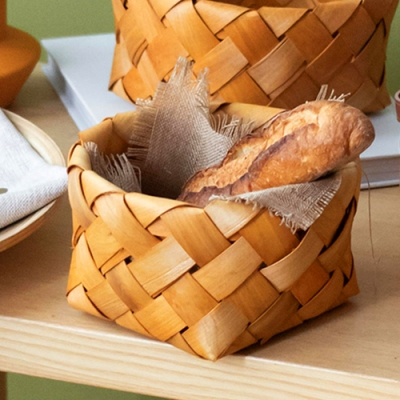Homely Zakka 木趣食光手工木片編織野餐籃(特大)