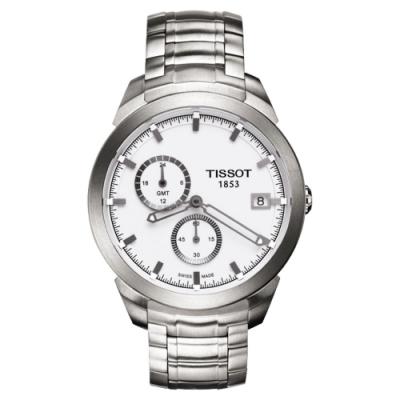 TISSOT Titanium GMT 時尚鈦金屬二地時區腕錶-白/43mm T0694394403100