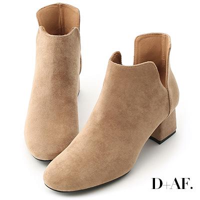 D+AF 俐落Life.側V口絨料中跟短靴*杏