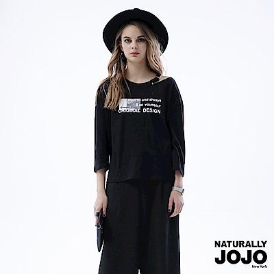【NATURALLY JOJO】原創印設計領上衣(黑)