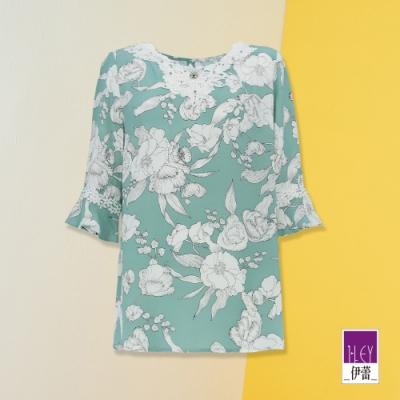 ILEY伊蕾 刺繡蕾絲花卉印花上衣(綠)