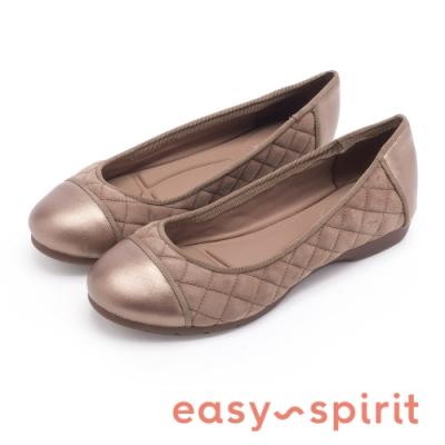 Easy Spirit SEDACE 高質感微甜芭蕾菱格紋平底娃娃鞋-絨灰