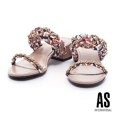 拖鞋 AS 法式優雅金屬鍊方格布平行繫帶低跟拖鞋-米