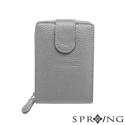 SPRING-網路獨家-簡約荔紋卡片拉鍊包-氣質灰