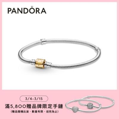 【Pandora官方直營】Pandora Moments 圓桶扣雙色蛇鏈