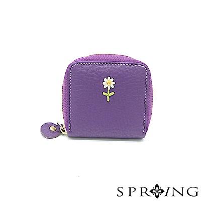 SPRING~幸福氛圍~花朵真皮拉鍊零錢包~薰衣草紫