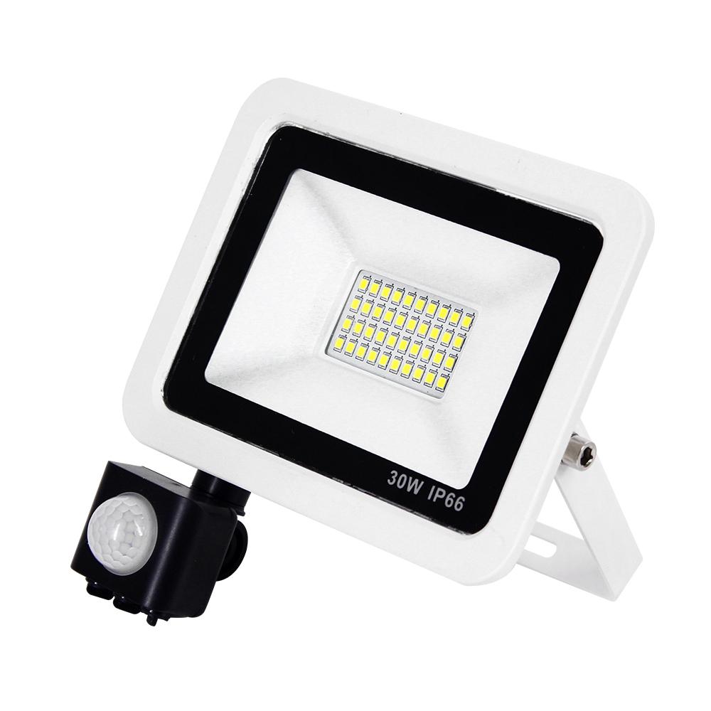 DIY紅外線感應戶外超薄LED泛光燈30W白光6000K洗牆燈/探照燈/投射燈-電壓110