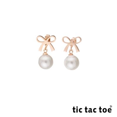 tic tac toe 白鋼垂墜耳環 蝴蝶結珍珠 TR-1408RG