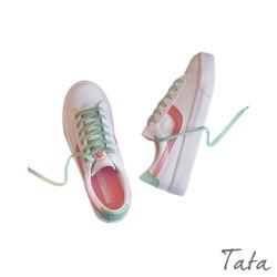小花撞色邊小白鞋 共二色 TATA