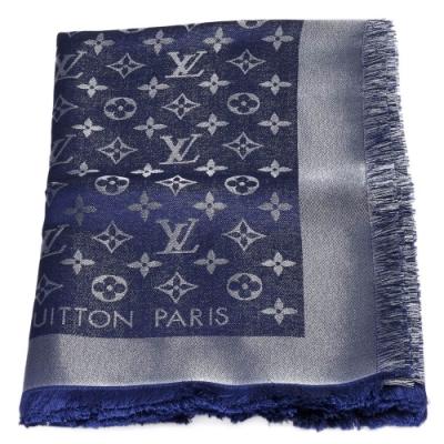 LV M73658經典MONOGRAM SHINER金銀紗羊毛披肩(午夜藍色)