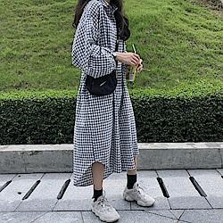 La Belleza百搭小格子排釦雙色格紋墱籠袖長版襯衫洋裝