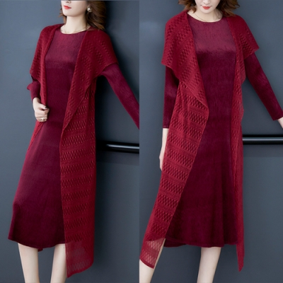 【KEITH-WILL】(預購)柔軟舒適壓褶風格蕾絲洋裝