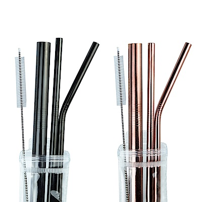 Caldo卡朵生活 幻彩304不鏽鋼平口吸管5件組(附刷)