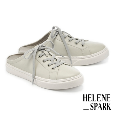 拖鞋 HELENE SPARK 簡約率性純色全真皮穆勒厚底休閒拖鞋-灰