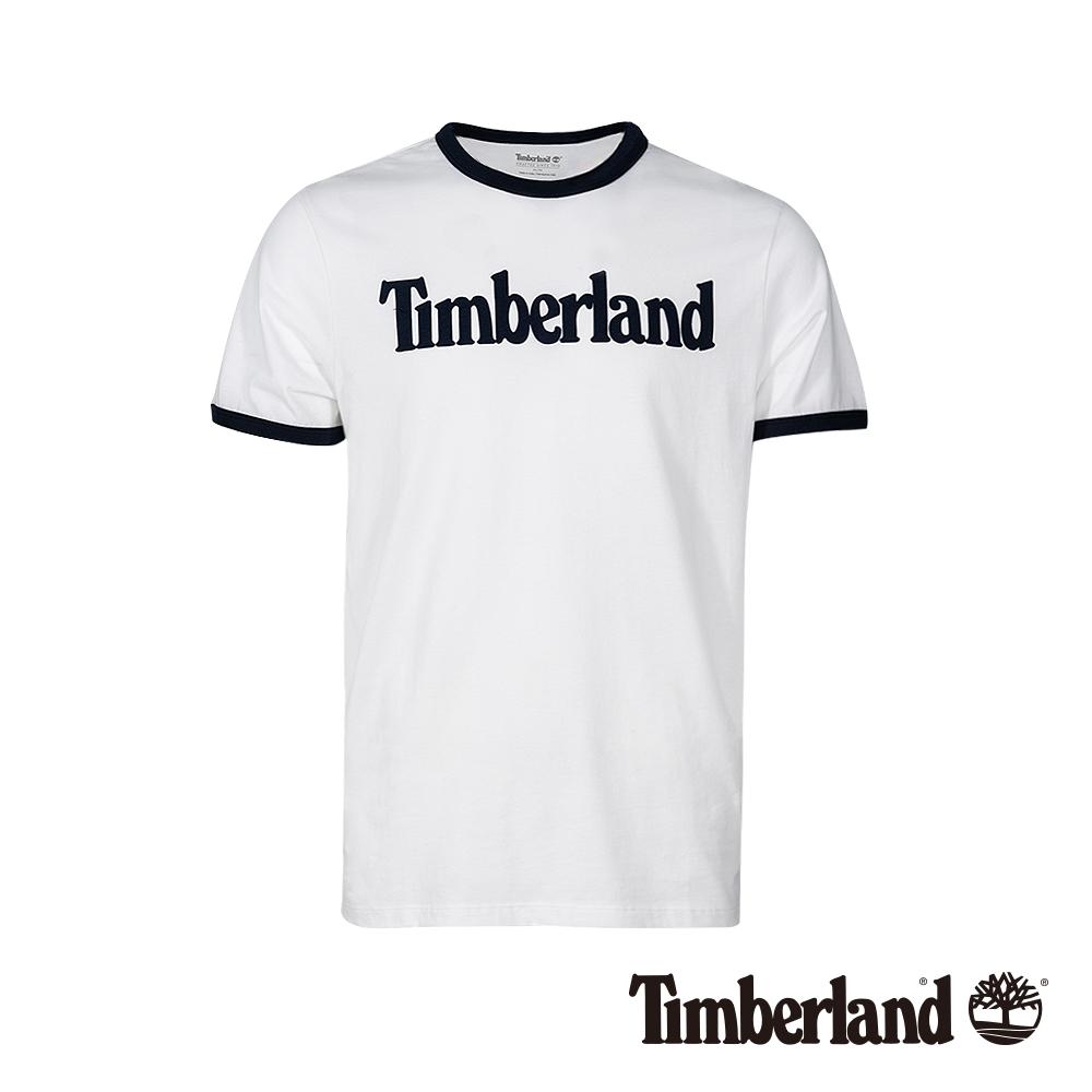 Timberland 男款白色品牌圖案短袖T袖|A1W19