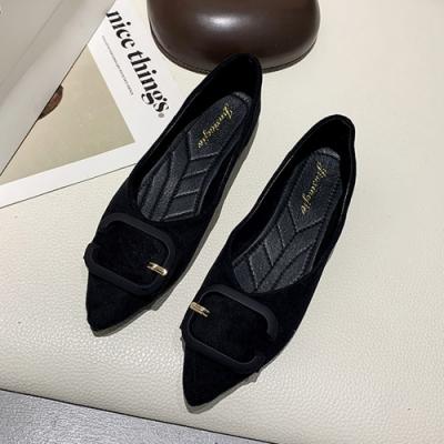 KEITH-WILL時尚鞋館 個性淑女平底簡約尖頭鞋-黑