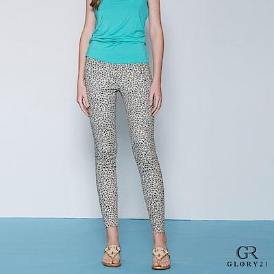 GLORY21 豹紋印花合身長褲-豹紋