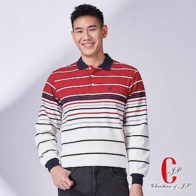 Christian-義式漸層設計POLO衫-紅白條