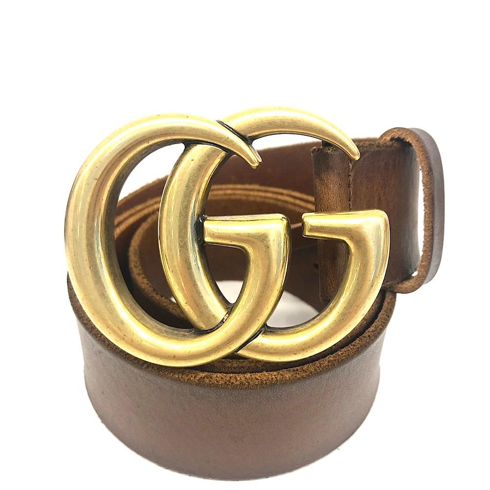GUCCI 復古金雙G扣頭咖啡色刷舊真皮皮帶(95cm)