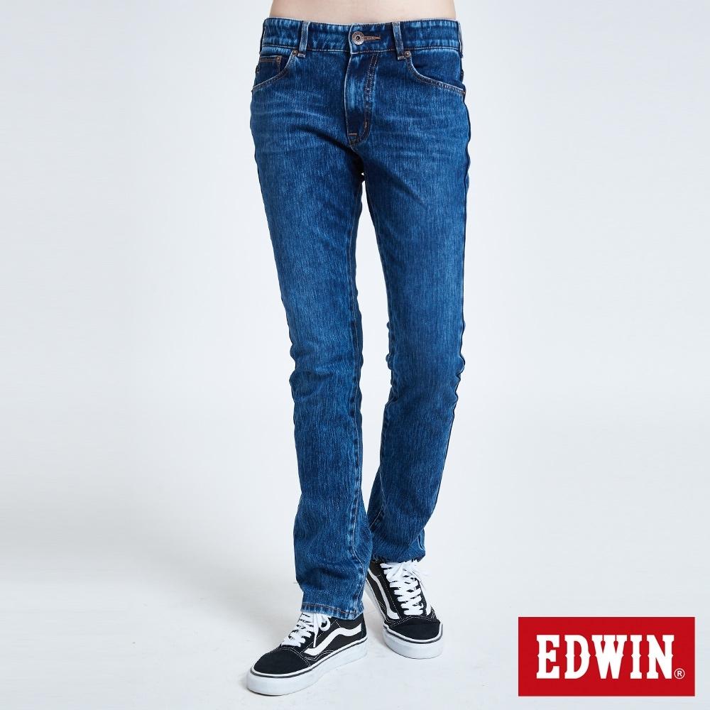 EDWIN JERSEYS 迦績 EJ3 棉中低腰中直筒牛仔褲-女-拔洗藍