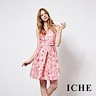 ICHE 衣哲 時尚粉嫩蝴蝶印花造型禮服洋裝
