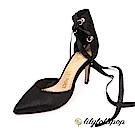 Lilylollipop-Luxury 馬毛緞帶繞踝跟鞋--黑色