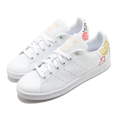 adidas 休閒鞋 Stan Smith W 低筒 女鞋 愛迪達 三葉草 塗鴉 皮革鞋面 白 彩 FX5679