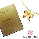 Dogeared 經典蝴蝶結 金色許願項鍊 你最甜美 附原廠盒