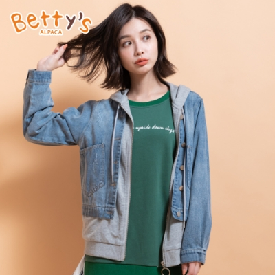 betty's貝蒂思 假兩件拼接連帽牛仔外套(牛仔藍)