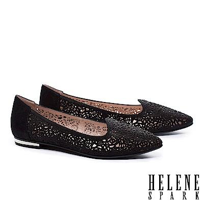 低跟鞋 HELENE SPARK 奢華自信晶鑽設計沖孔尖頭低跟鞋-黑